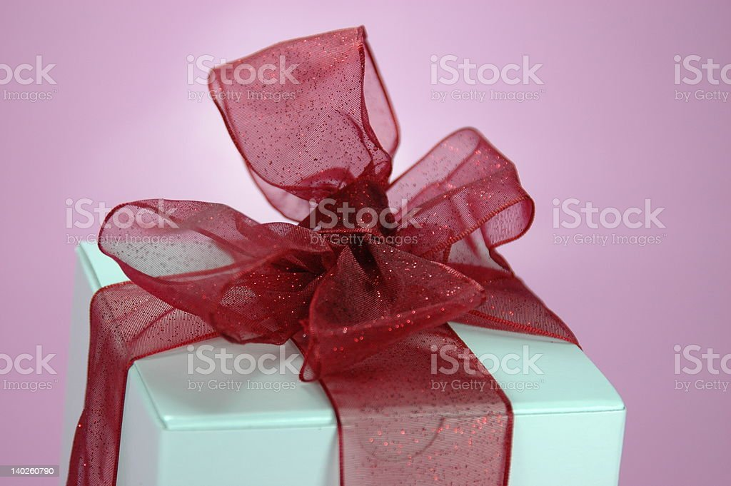 Gift with red bow stock photo