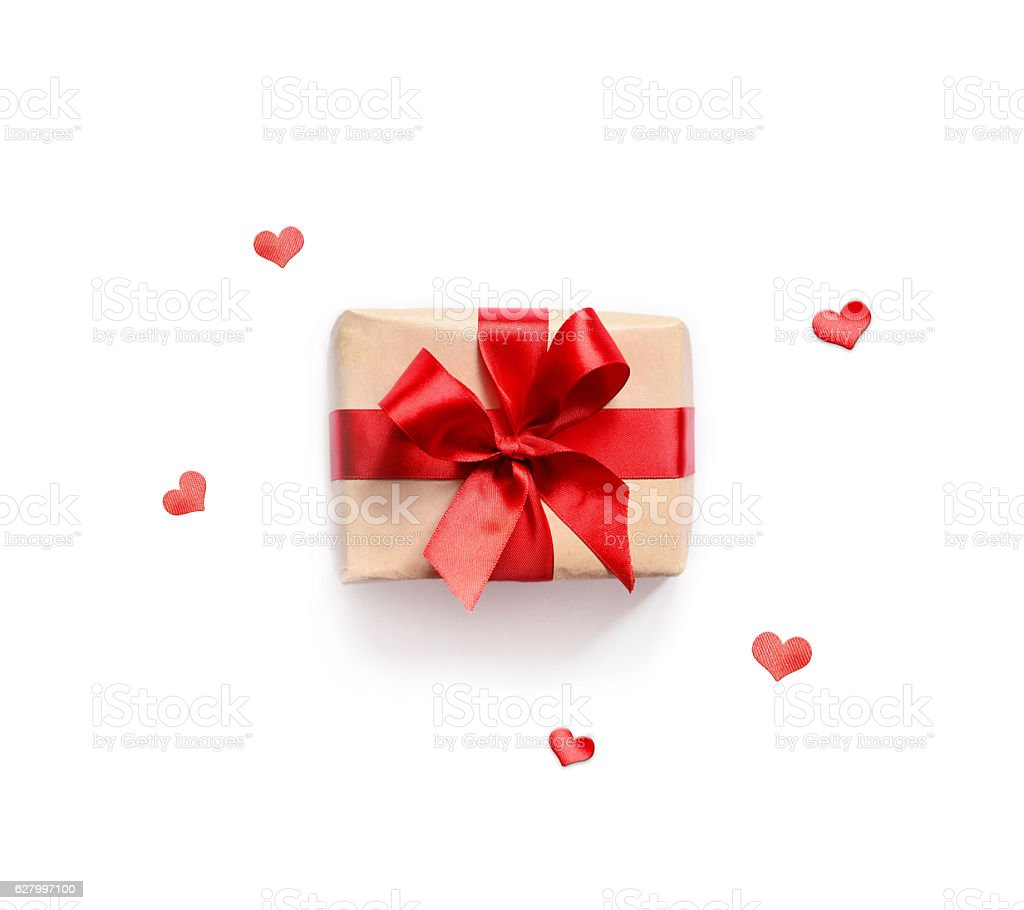 Gift with red ribbon on white background stock photo