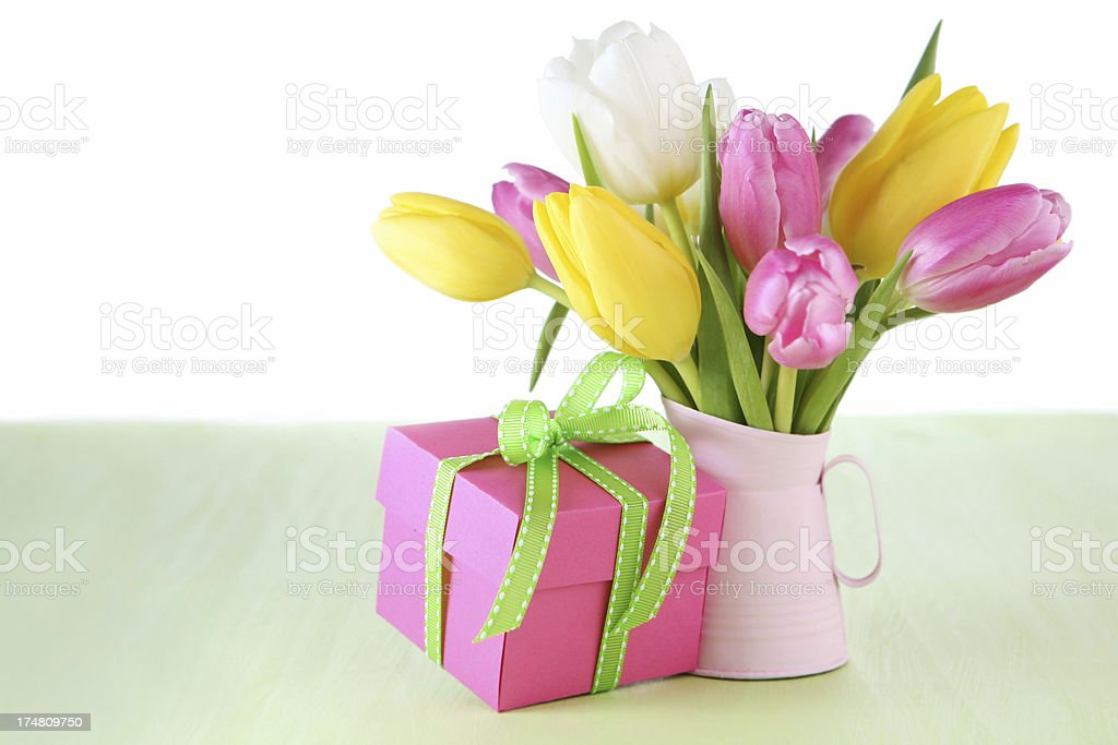 gift with  tulips royalty-free stock photo