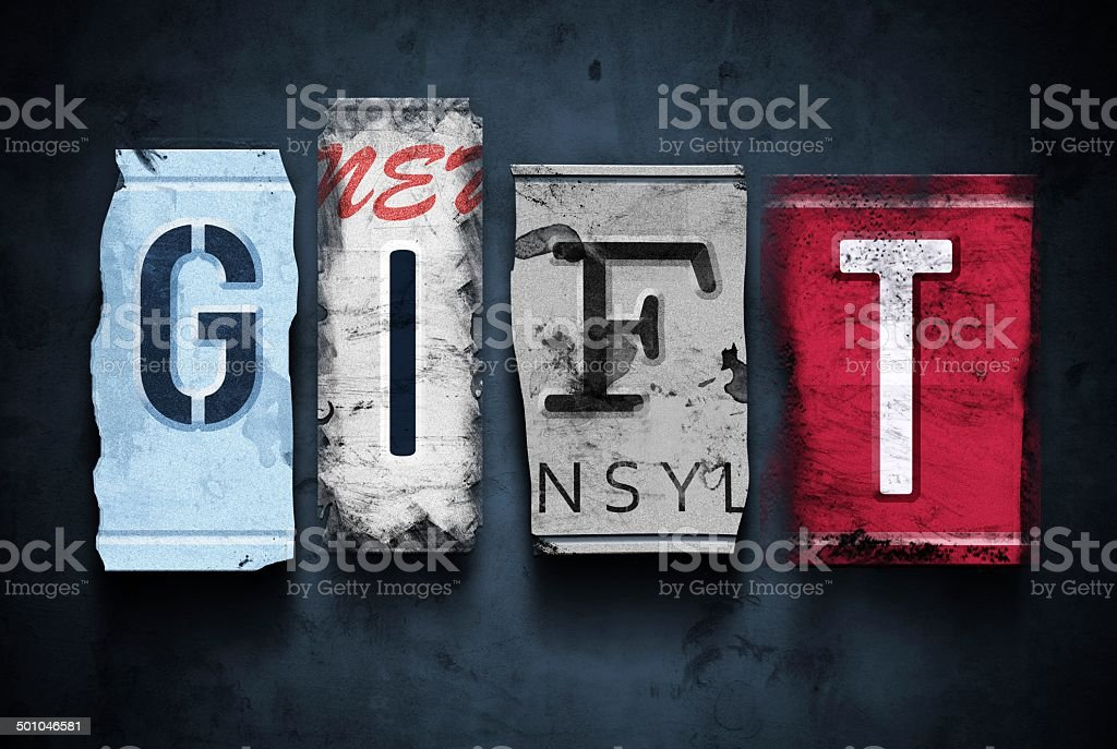 Gift Word On Vintage Broken Car License Plates Stock Photo More