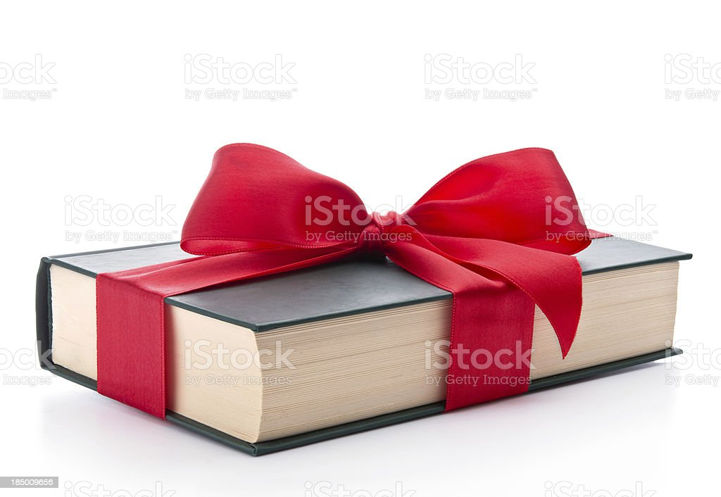 Gift wrapped book stock photo