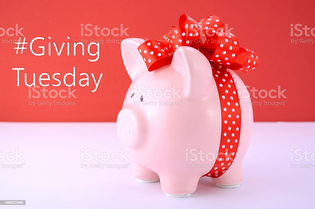 Gift wrapped piggy bank on red white background. stock photo