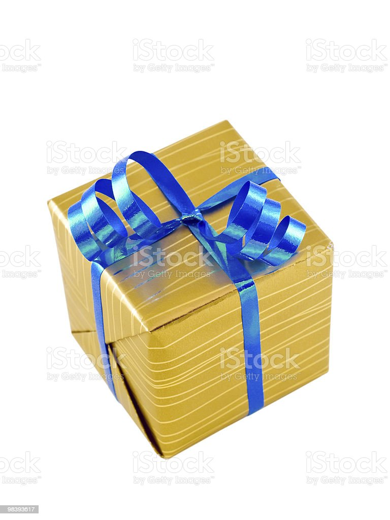Gift wrapped present with a blue ribbon, isolated on white royalty-free stock photo
