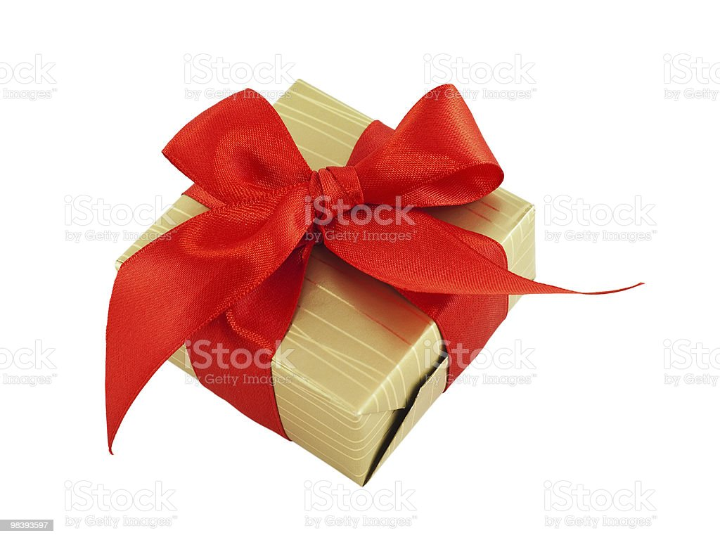 Gift wrapped present with a red satin bow, isolated royalty-free stock photo