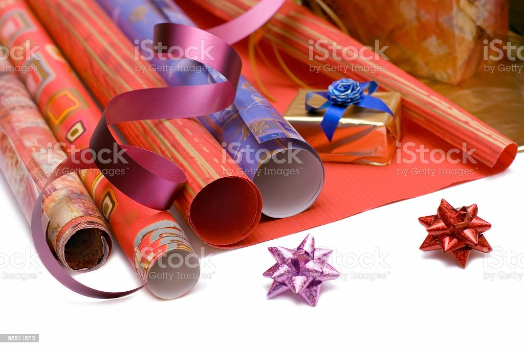 gift wrapper stock photo