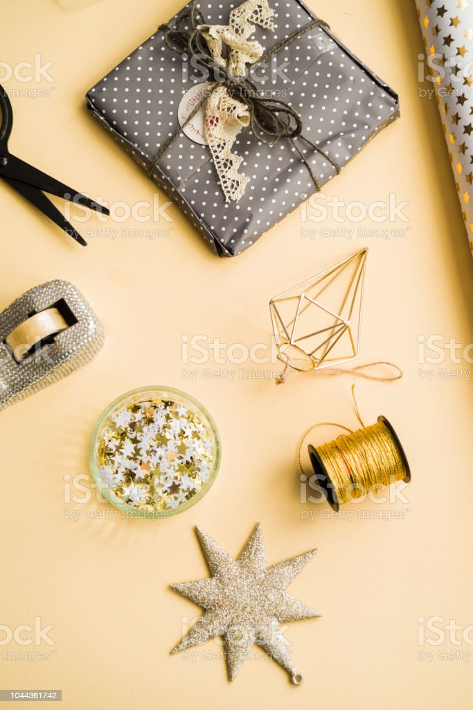 Gift Wrapping Accessories On Yellow Background Stock Photo Download Image Now Istock