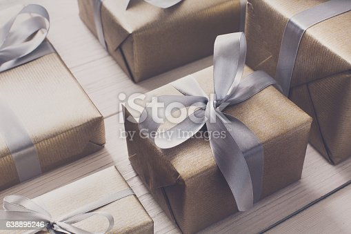 istock Gift wrapping. Modern christmas present in boxes 638895246