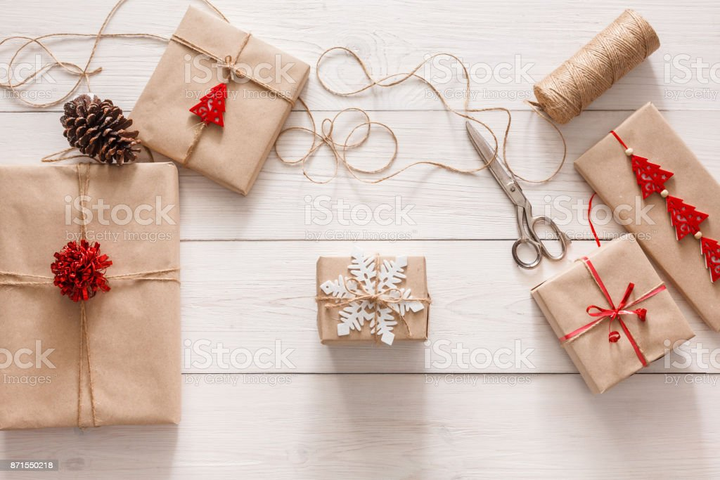 Gift Wrapping Packaging Modern Christmas Present In Boxes Stock Photo Download Image Now Istock