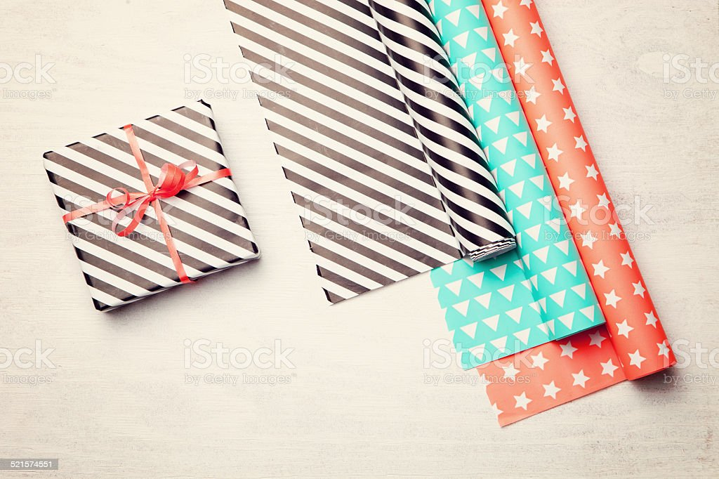 Gift wrapping paper. holidays background. stock photo