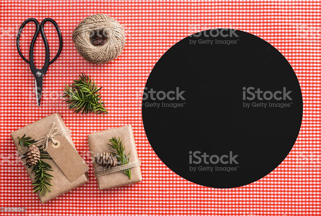 Gift wrapping set; scisors, string, branches, label, cones. Decorating set. stock photo