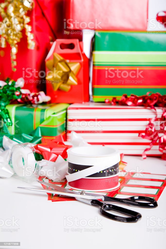 Gift Wrapping Supplies royalty-free stock photo