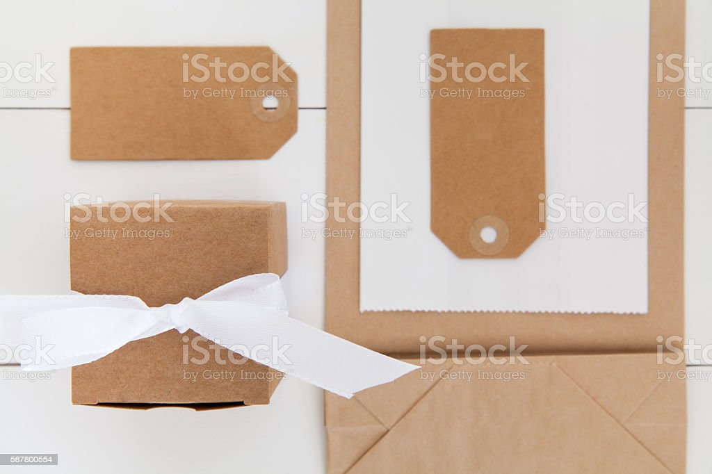 Gift wrapping utensils stock photo