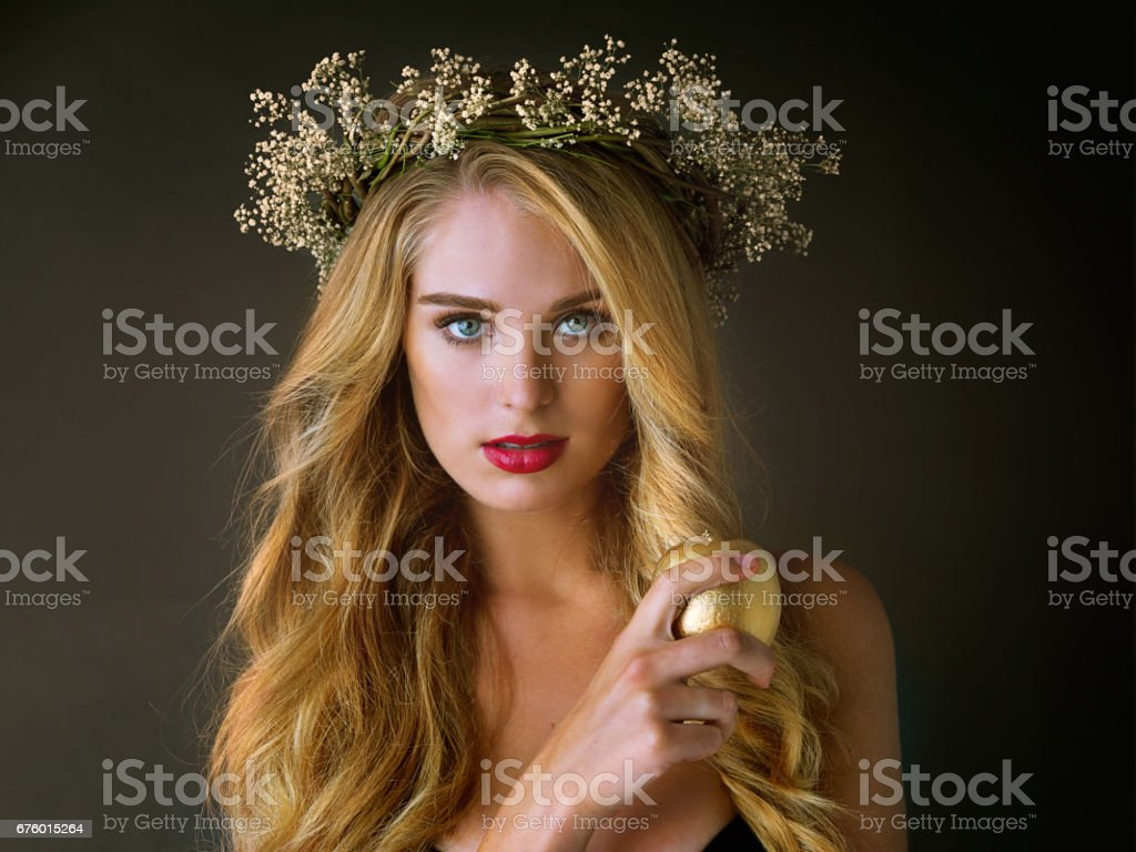 Gifted with gold for her beauty stock photo