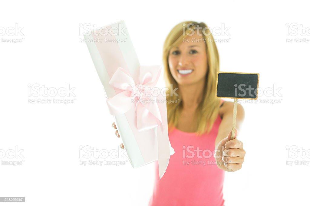 Gift/pink/blackboard stock photo