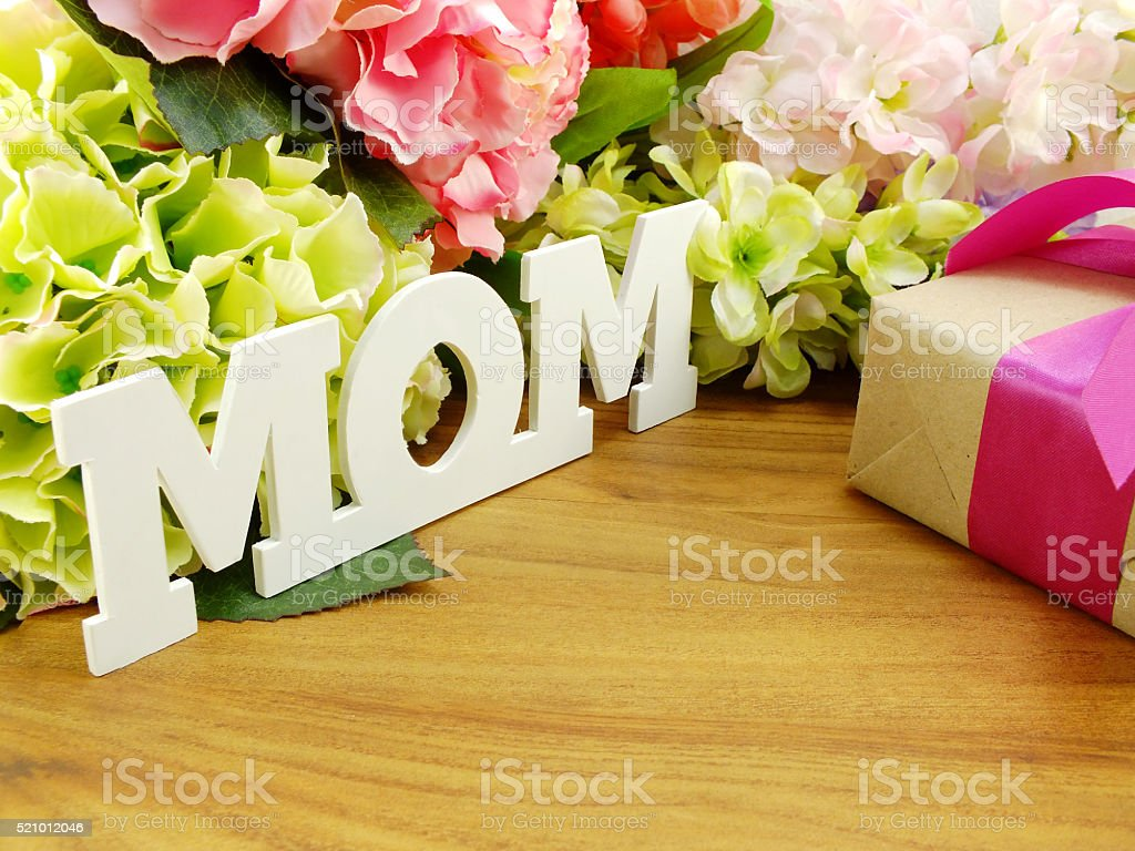 Gifts And Beautiful Bouquet Flowers For Mother Day Or Birthday Stock
