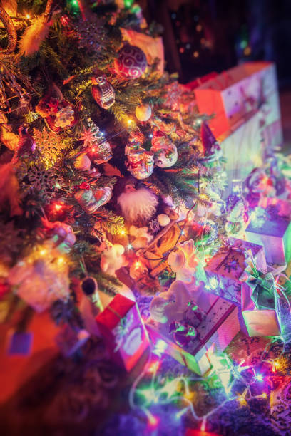 Gifts and Christmas decorations stock photo