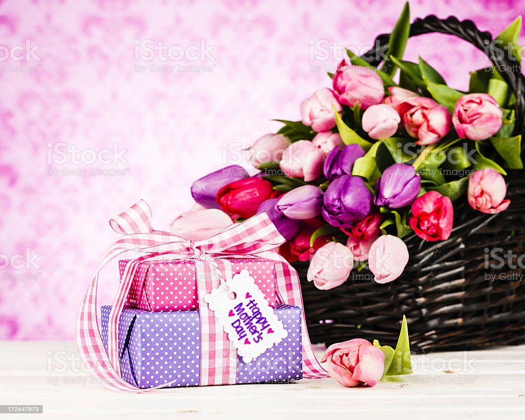Gifts and Flowers For Mother's Day royalty-free stock photo