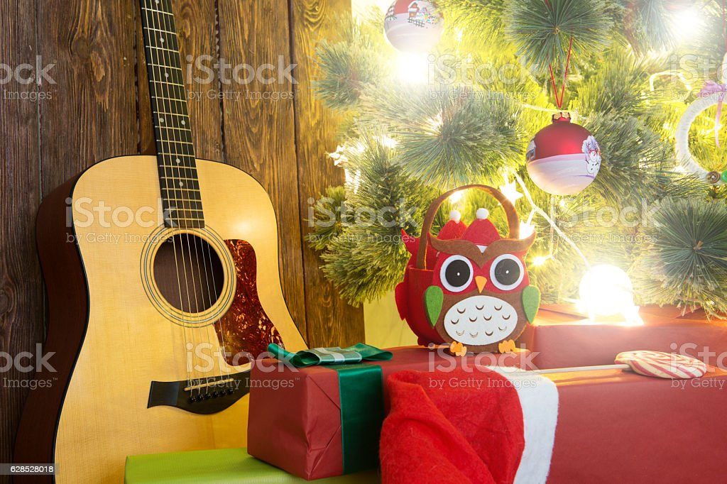 Gifts and presents under the Christmas tree. stock photo