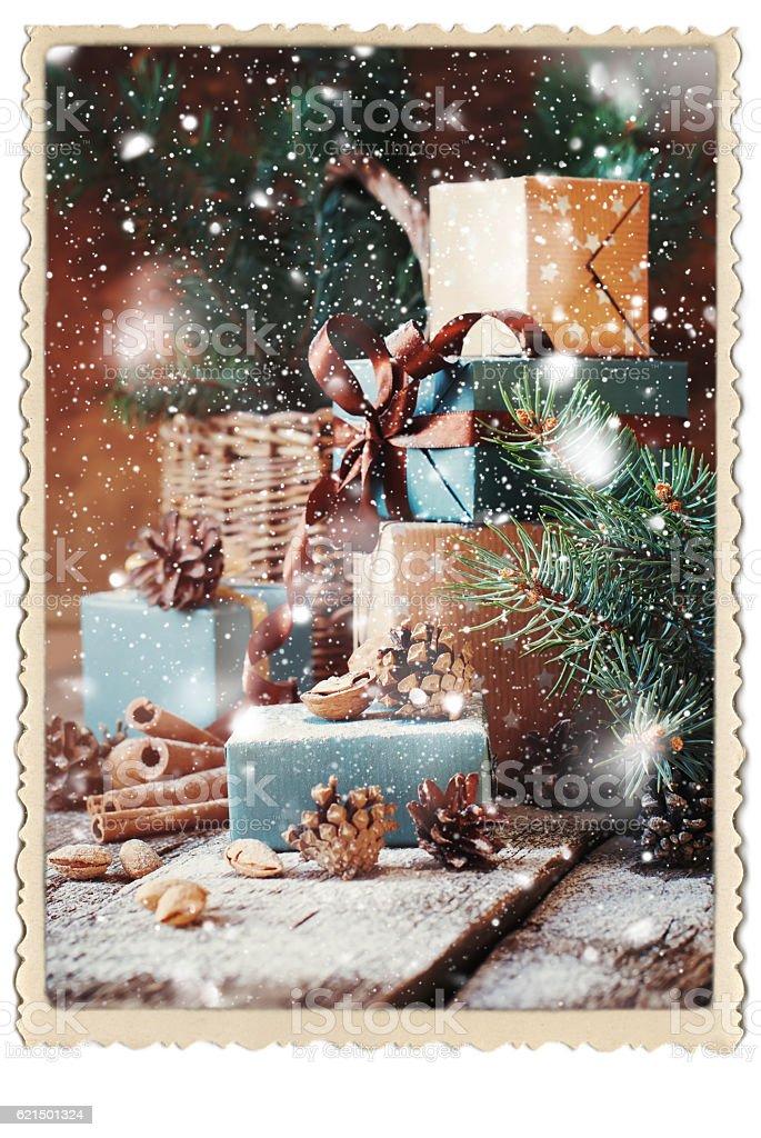 Gifts Boxes Pine Cones Walnut Vintage Photo Frame photo libre de droits