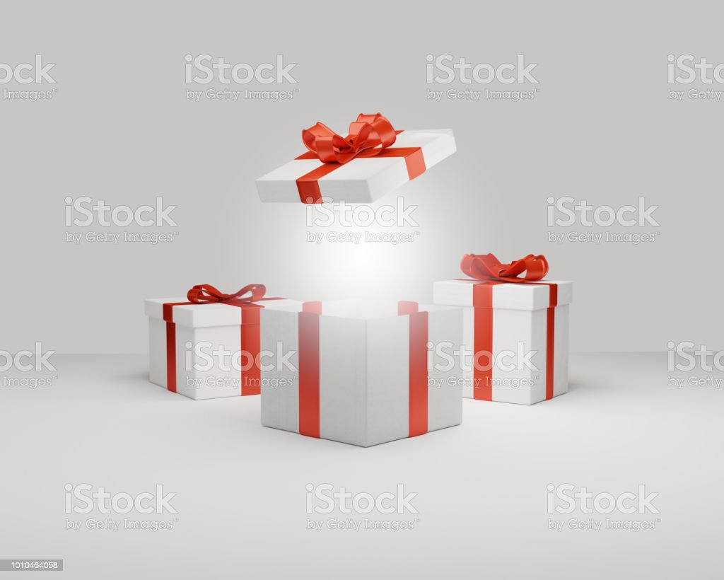 gifts boxes presents surprise 3d-illustration festive white red design