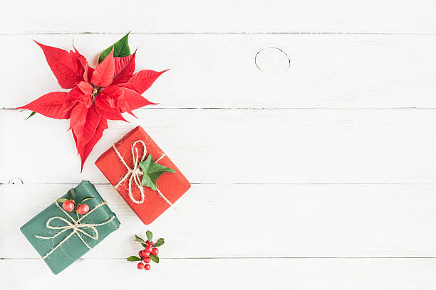 gifts, fir branches, christmas poinsettia. flat lay, top view - weihnachtssterne aus papier stock-fotos und bilder