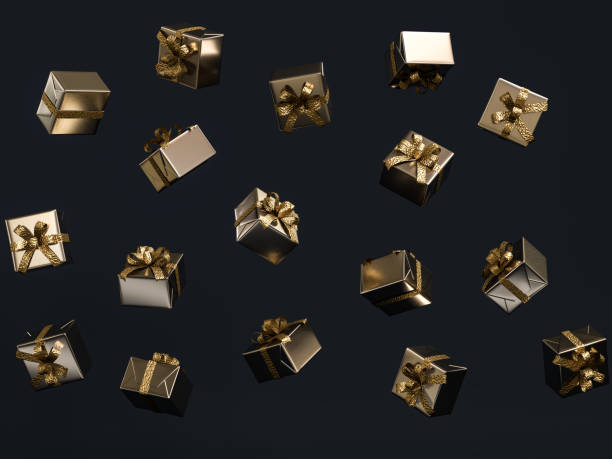 Gifts flying isolated black, Christmas gifts falling Gifts flying isolated black, Christmas gifts falling, 3d rendering gift box stock pictures, royalty-free photos & images