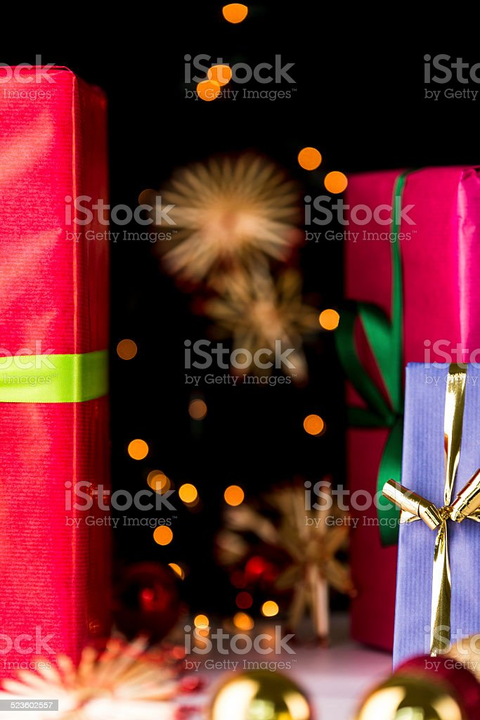 Gifts, glitters, spheres and stars. stock photo