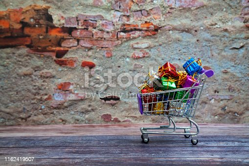 Christmas Gifts in shopping cart.