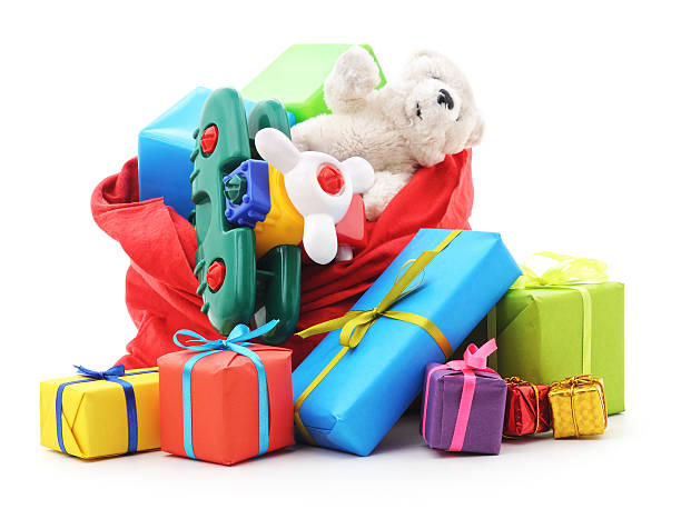 gifts in the bag. - toy stock pictures, royalty-free photos & images