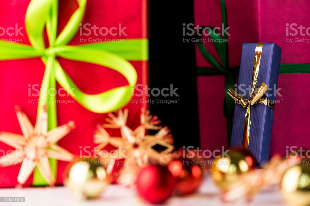 Gifts, spheres and stars. stock photo
