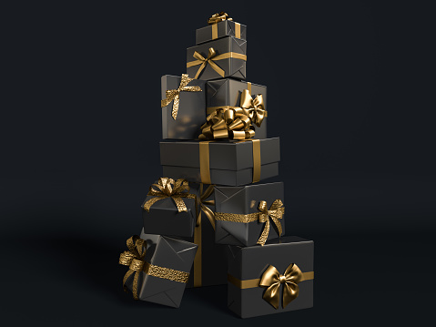 Gifts stack with golden ribbon isolated. Christmas present pile, many gifts stacked. Black Birthday background3d rendering.