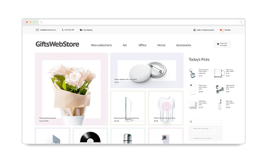 Gifts webstore site template mock up isolated, 3d illustration. Accessory web page interface mockup. Internet website template. Web store screen layout for computer display.