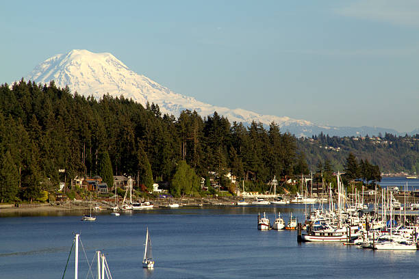 Gig Harbor Gig Harbor W.A. on a clear summer day. gig harbor stock pictures, royalty-free photos & images