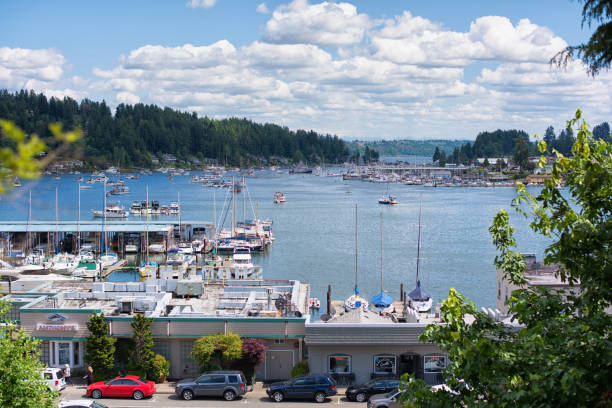 Gig Harbor Gig Harbor, Washington - June 4th 2017, Its beautiful sunday, many boats and peoples visit the annual wooden boat festival at Gig Harbor. gig harbor stock pictures, royalty-free photos & images
