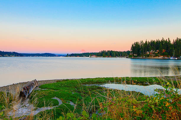 Gig Harbor. Small town downtown marina area. Gig Harbor.  Small town downtown marina area. Beautiful evening landscape gig harbor stock pictures, royalty-free photos & images