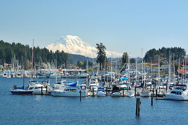 Gig Harbor, WA Gig Harbor is the name of both a bay on Puget Sound and a city on its shore in Pierce County, Washington, United States.  gig harbor stock pictures, royalty-free photos & images