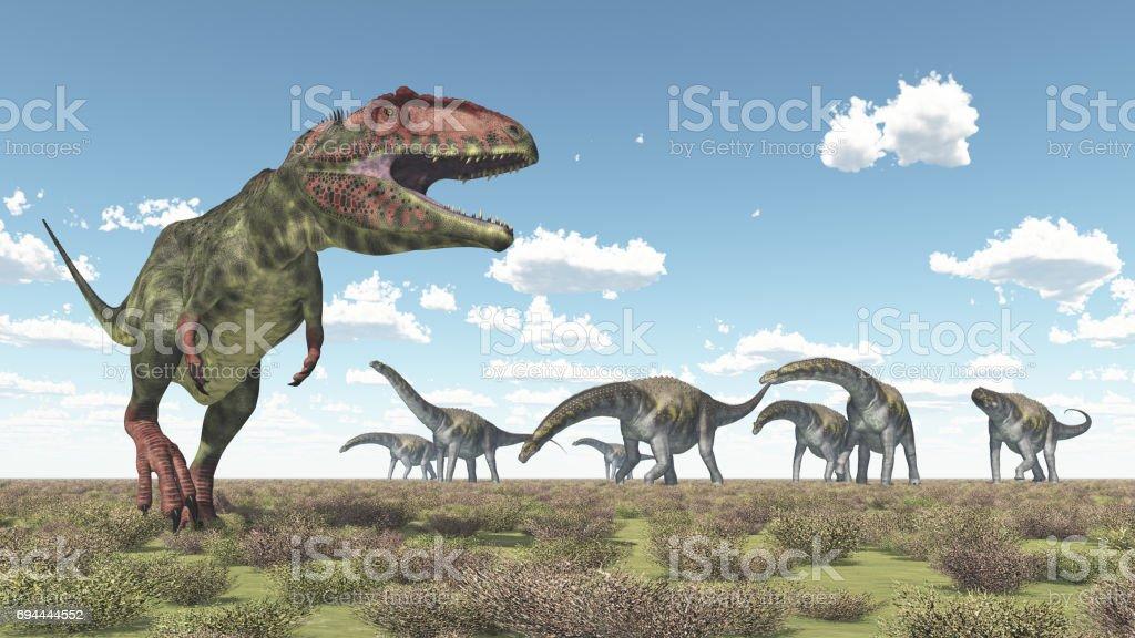Giganotosaurus y Argentinosaurus - foto de stock