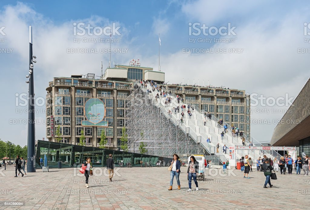 Gigantic stairs on the station square in Rotterdam stock photo