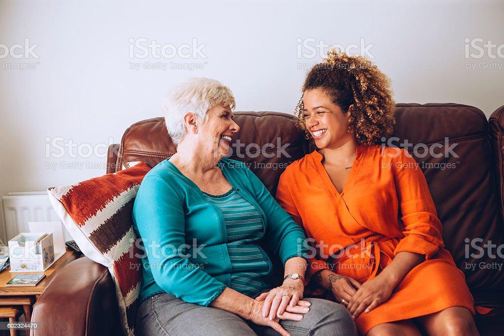 Giggles with Grandma stock photo