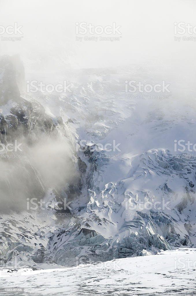 Gigjokull in fog stock photo