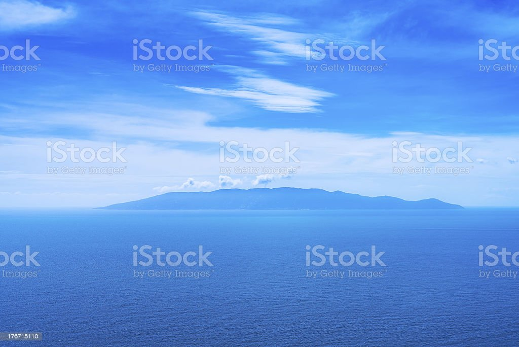 Giglio island aerial view from Argentario. Mediterranean sea. Italy royalty-free stock photo