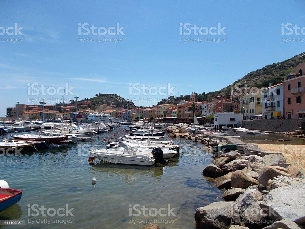 giglio island - panorama on the village stock photo