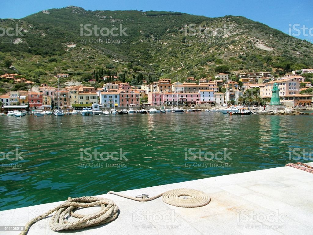 giglio island - view of the village stock photo