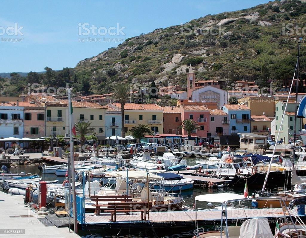 giglio island - village and harbor stock photo