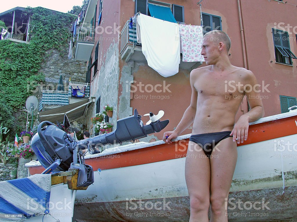 Gigolo in Italy (or checking out girls) stock photo