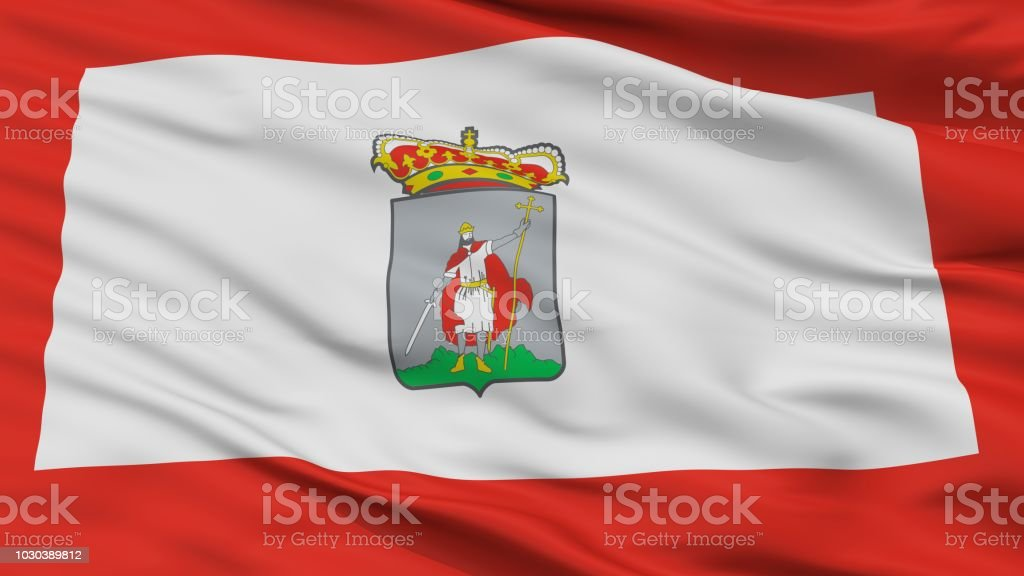 Gijon City Flag Spain Closeup View Stock Photo More Pictures Of
