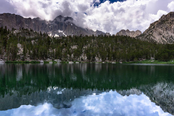 Gilbert Lake in the High Sierra in Shadow stock photo
