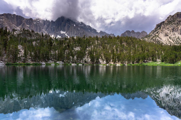 Gilbert Lake in the High Sierra in Sunlight stock photo