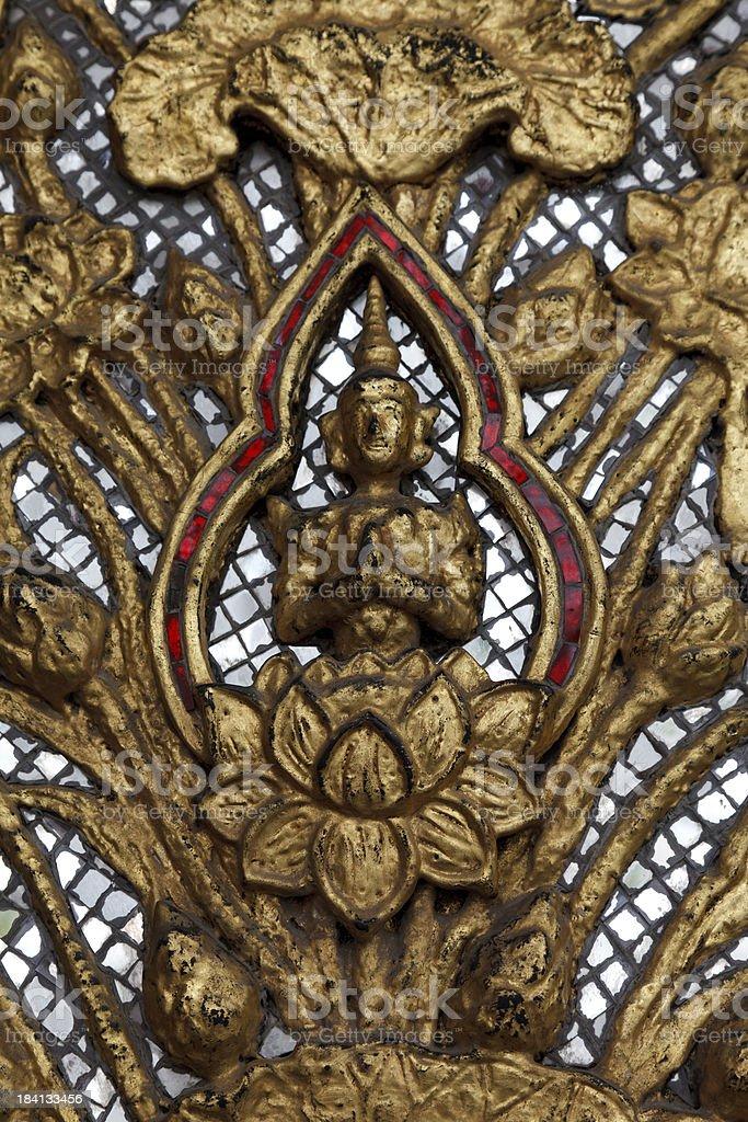 Gilded Buddha with mirrors Bangkok stock photo