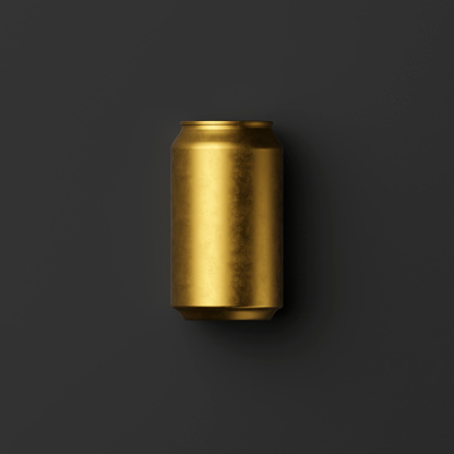 istock gilded classic aluminum can for carbonated drinks on a black background 1237573838